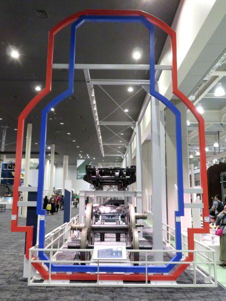 京都鉄道博物館に展示されている現在の在来線における建築・車両限界を表した実寸大模型