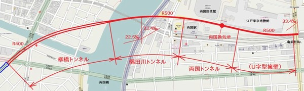 総武トンネル坑口~馬喰町駅入口のトンネル位置図