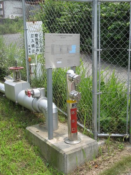 両国換気所近くにある総武トンネルの消火用水連結送水口。