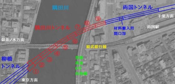 隅田川トンネルのケーソン分割図