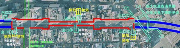馬喰町駅と関連施設の位置