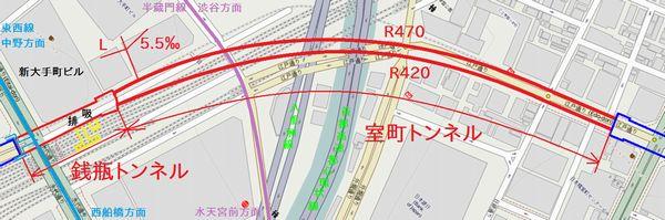 新日本橋駅~東京駅入口のトンネル位置図