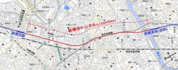 新横浜トンネルの位置