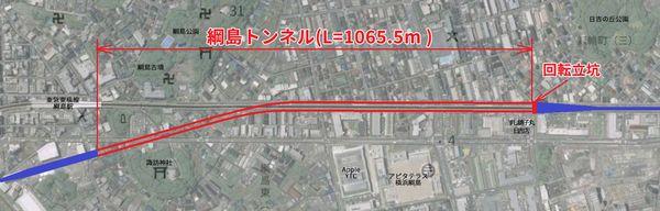 綱島トンネルの位置