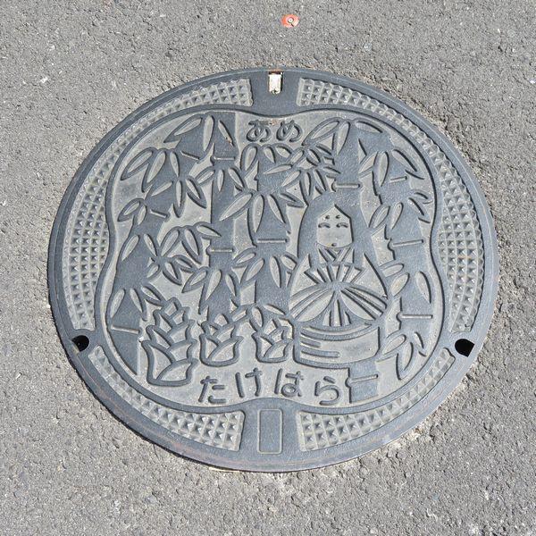 竹原市のマンホール(無着色)