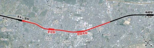 東武野田線高架化区間の位置