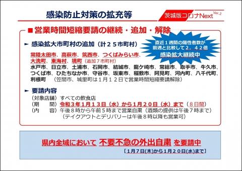 令和3年1月13日_【知事記者会見資料】時短要請等(石岡市継続・追加・解除)_000001
