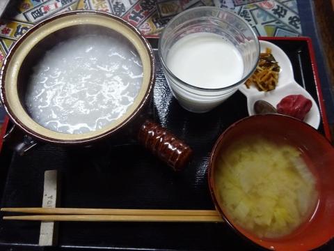 「お米から焚いた、おかゆの朝ごはん」③