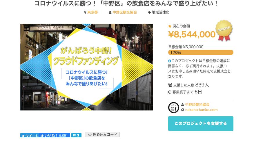 5月11日の中野区内飲食店支援クラウドファンディング 画面