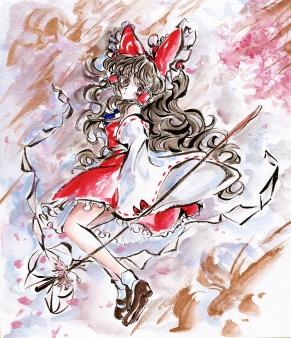 墨彩画 博麗霊夢001 きたこori 1200px