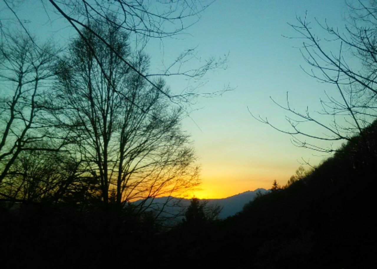 夕暮れの崖