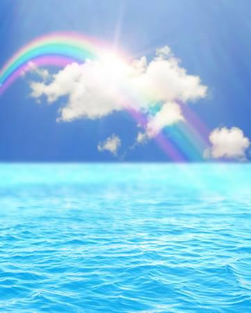90581751-海水と空の美しい虹